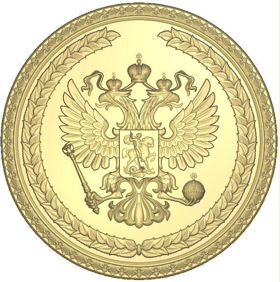 Герб России резной из дерева Вариант 3 вкруге